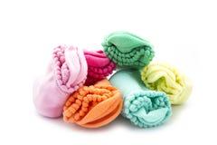 Socks. Colorful folded socks isolated on white background Stock Images