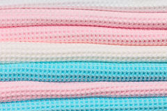 Colorful folded towels close-up.  Stock Photos