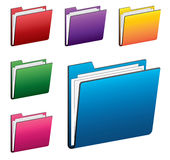 Colorful folder icons set. Illustration of folder icons in various colors Stock Photos