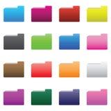 Colorful Folder Icons Set Stock Images