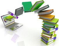 Colorful folders fly into your laptop. 3d image on a white background Stock Photo