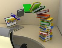 Colorful folders fly into your laptop, standing on your desktop. 3D render Illustration Stock Image