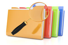 Colorful folders and magnifying glass. On white. 3d rendered image. searching concept Stock Images