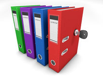Colorful folders secured by a lock Stock Photo