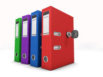 Colorful folders secured by a lock Royalty Free Stock Photo