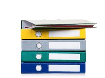 Colorful folders on white. Bright office folders isolated on white background Stock Image