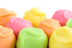 Colorful Fondant Candies On White. Background stock photography