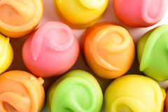 Colorful Fondant Candies On White. Background stock image