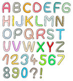 Colorful font. Hand drawn font, colorful design Stock Photo
