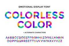 Colorful font. Colorful bright alphabet and font. Emotional bold uppercase color letters. Type, typography letter latin font. Hand-drawn modern narrow font for vector illustration