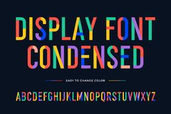 Colorful font. Colorful condensed alphabet and font Vector Illustration