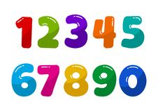 Colorful font numbers from 1 to 0. Vector illustration stock illustration
