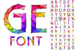 Colorful font of patches. Vector alphabet with black  separator Royalty Free Stock Image