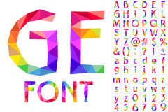 Colorful font of patches. Vector illustration rainbow alphabet in patchwork style Stock Image