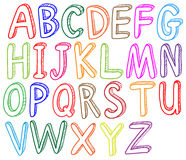 Colorful font styles of the alphabet Royalty Free Stock Images