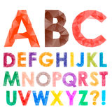 Colorful font from triangles Stock Photos