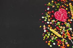 Colorful food background with candies and bonbons Royalty Free Stock Photography
