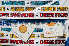 Colorful food banners at a county fair Royalty Free Stock Photography