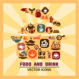 Colorful food and drink icons Royalty Free Stock Images