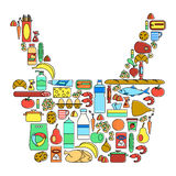 Colorful food, drinks and household cleaning products linear icons set. Supermarket goods Stock Photography