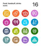 Colorful Food, foodstuff, drinks icons for web and mobile design pack 2. 16 line colorful vector icons Royalty Free Stock Photos