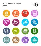 Colorful Food, foodstuff, drinks icons for web and mobile design pack 3. 16 line colorful vector icons Royalty Free Stock Image