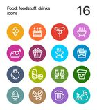 Colorful Food, foodstuff, drinks icons for web and mobile design pack 4. 16 line colorful vector icons Stock Photos