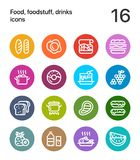 Colorful Food, foodstuff, drinks icons for web and mobile design pack 1. 16 line colorful vector icons Royalty Free Stock Images