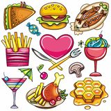 Colorful Food icons 1. Set of ready-to-eat food icons isolated on white background. part 1 royalty free illustration