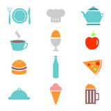 Colorful food icons set Royalty Free Stock Photography