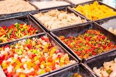 Colorful food macaroni pasta background in India market Stock Image