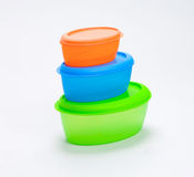 Colorful food plastic box Royalty Free Stock Image