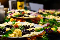 Colorful food platters stock images