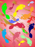 Colorful foot prints. Vector illustration of a grunge background with foot prints Stock Images