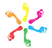 Colorful Foot Prints Royalty Free Stock Images