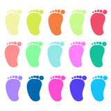 Colorful foot prints background Stock Images