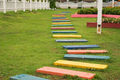 Colorful footpath. In the garden Stock Image