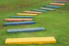 Colorful footpath. In the garden Royalty Free Stock Photos
