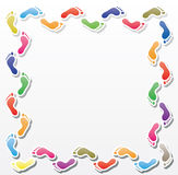 Colorful footprints border vector illustration