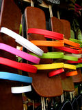 Colorful Footwear. Indian footwear known as chappals for sale in a shop stock images
