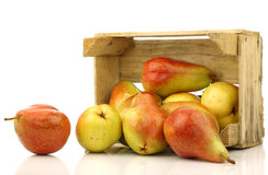 Colorful Forelle pears in a wooden crate Royalty Free Stock Photos