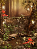 Colorful forest with lanterns Royalty Free Stock Photos