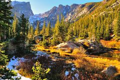 Colorful forest in Rocky Mountain National Park. In fall with snow and mountains in background, Colorado, USA stock images