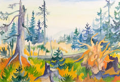 Colorful forest trees painting Stock Images