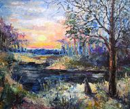 Colorful forest with a wolf. Oil painting landscape colorful forest with a wolf stock photo