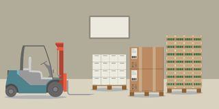 A colorful forklift in a warehouse loading boxes. vector illustration