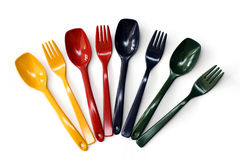 Colorful forks and spoons. In fan arrangement Royalty Free Stock Photos