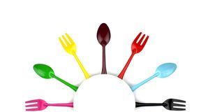 Colorful forks and spoons Royalty Free Stock Images