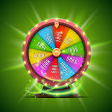 Colorful fortune wheel.  on green background. Vector illustration Royalty Free Stock Photo