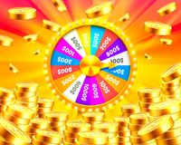 Colorful fortune wheel wins the jackpot. Piles of gold coins. Vector illustration isolated on golden background Stock Image
